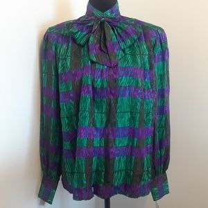VINTAGE Nicola Multicolored Blouse 💜 💚💜